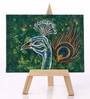 Canvas 8 x 1 x 6 Inch Funky Sparkling Peacock Stretched Framed Painting with Easel Stand by Rang Rage