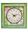 Rang Rage Multicolour Mango Wood 16 x 2.5 x 16 Inch Floral Elegance Square Wall Clock
