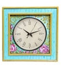 Multicolour Mango Wood 16 x 2.5 x 16 Inch Floral Square Wall Clock by Rang Rage