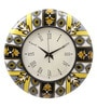 Multicolour MDF 16 Inch Summer Floral Ikat Hand Painted Round Wall Clock by Rang Rage