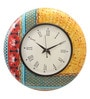 Multicolour MDF 16 Inch Summer Mughal Hand Painted Round Wall Clock by Rang Rage