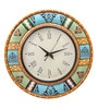 Multicolour MDF 16 Inch Vintage Mughal Hand Painted Round Wall Clock by Rang Rage
