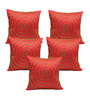 Rang Rage Orange Poly Silk 16 x 16 Inch Cushion Cover - Set of 5