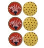 Rang Rage Round Multicolour Wood Coasters with Stand - Set of 6