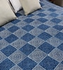 RangDesi Blue Cotton Checkered & Ethnic 120 x 88 Inch Double Bed Sheet