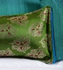 RangDesi Green Brocade 14 x 7 Inch Ethnic Cushion Cover
