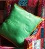 Green Silk 16 x 16 Inch Raw Cushion Cover by RangDesi