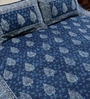 Blue Cotton Handblock 108 x 91 Inch Double Bed Sheet (with Pillow Covers) by RangDesi