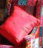 Red Silk 16 x 16 Inch Raw Cushion Cover by RangDesi