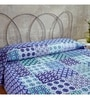 Ratan Jaipur Blue Cotton Queen Size Bed Cover