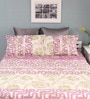 Raymond Home Pink & Beige Cotton Queen Silverleaf Bed sheet with 2 Pillow Covers