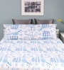 Blue Cotton Queen Size Silverleaf Bed Sheet with 2 Pillow Covers by Raymond Home