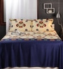 Raymond Home Blues Nature & Florals Cotton King Size Bed Sheets - Set of 3