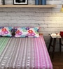 Mauve Cotton Queen Size Bedsheet - Set of 3 by Raymond Home
