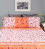 Raymond Home Peach Cotton Queen Size Silverleaf Bed Sheet with 2 Pillow Covers