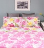 Pink Cotton Queen Size Silverleaf Bed Sheet with 2 Pillow Covers by Raymond Home