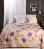 Purples Nature & Florals Cotton King Size Bed Sheets - Set of 3 by Raymond Home