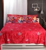 Raymond Home Reds Nature & Florals Cotton King Size Bed Sheets - Set of 3