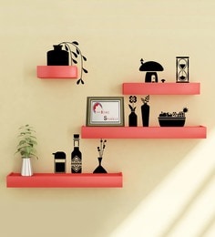 Red & Black Engineered Wood Shelves With Wall Stickers - Set Of 4 By Home Sparkle