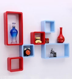 Red & Blue Engineered Wood Cube Rectangle Wall Shelves - Set Of 6 By Home Sparkle