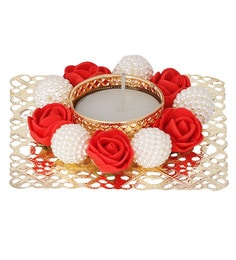 Red & White Floral Metal Tea Light Candle Holder