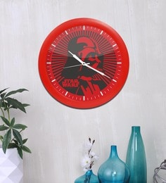 Red Acrylic & Glass 10 X 2 X 10 Inch Darth Vader Digital Printed Analog Wall Clock