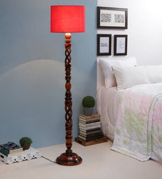 Red Fabric Floor Lamp - 1693749