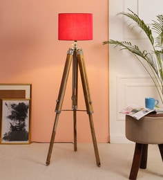 Red Fabric Floor Tripod Lamp - 1693680