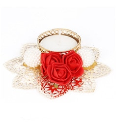 Red Flower Metal Tea Light Candle Holder