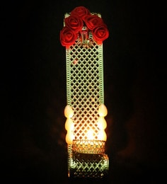 Red Flower With Ganesh Ji On It Metal Tea Light Candle Holder