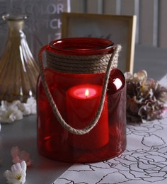 Red Glass Big Glass Jar With Rope Tea Light Holder