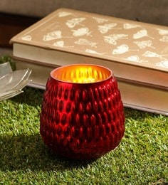 Red Glass Tea Light Holder