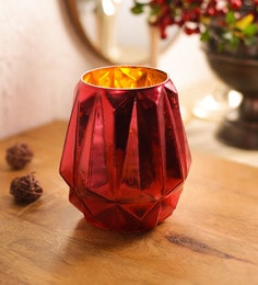 Red Glass Tea Light Holder - 1701094