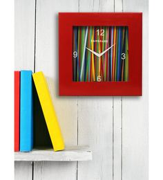 Red MDF 12 X 12 Inch Rainbow Square Wall Clock