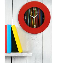 Red MDF 12 X 12 Inch Rainbow Wall Clock