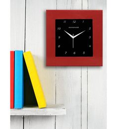 Red MDF 12 X 12 Inch Square Wall Clock