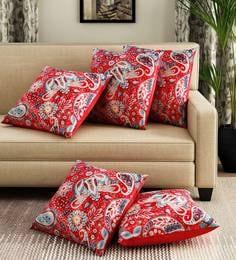 Red/Multicoloured Velvet Digital Print Set Of 5 Cushion Covers