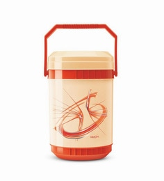 Red Plastic & Stainless Steel Lunch Box With 4 Leak Lock Containers