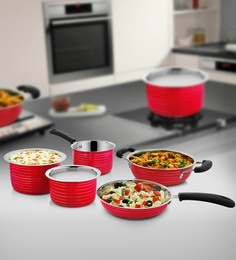 Red Stainless Steel Cookware Set - Set Of 5