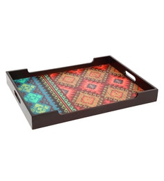 Reinvention Factory Multicolour Mdf Wooden Tray With Matt Finish - 1662846