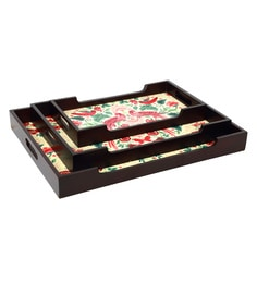 Reinvention Factory Multicolour Wooden Trays With Matt Finish - Set Of 3 - 1662810