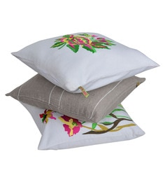 Reme Multicolour Cotton 18 X 18 Inch Subtle Flower Cushion Covers - Set Of 3