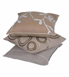 Reme Multicolour Cotton 18 X 18 Inch Subtle Tone Cushion Covers - Set Of 3