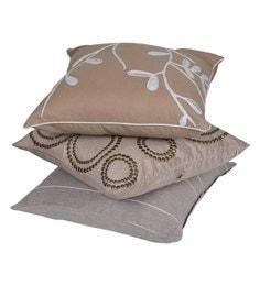 Reme Multicolour Cotton 18 X 18 Inch Subtle Tone Cushion Covers - Set Of 3
