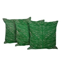 Reme Green Cotton 20 X 20 Inch Palm Leaves Cushion Covers - Set Of 3