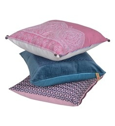 Reme Blue & Pink Cotton 18 X 18 Inch Plum Cushion Covers - Set Of 3