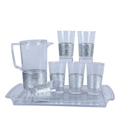 Reniche Embroderry 8 Piece Jug Set With Tray, Silver