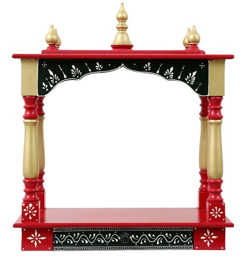31b7b330f7f Buy Red Mdf   Mango Wood Handcrafted Home Temple By Homecrafts ...