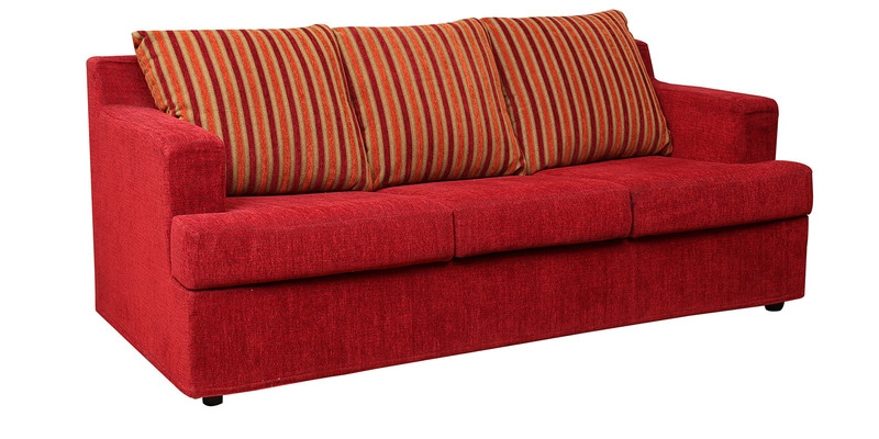 Buy Remo Three Seater Sofa Cum Bed In Red Colour By Kurl