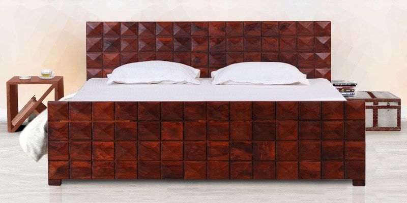 Reno King Size Bed with Storage in Honey Oak Finish by Woodsworth